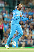 Krunal Pandya celebrates taking his second wicket in the over. T20 international, Australia v India. Sydney Cricket Ground, NSW, Australia, 25 November 2018. Copyright Image: David Neilson / www.photosport.nz
