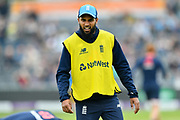 Adil Rashid of England warming up before the One Day International match between England and West Indies at the Brightside County Ground, Bristol, United Kingdom on 24 September 2017. Photo by Graham Hunt.