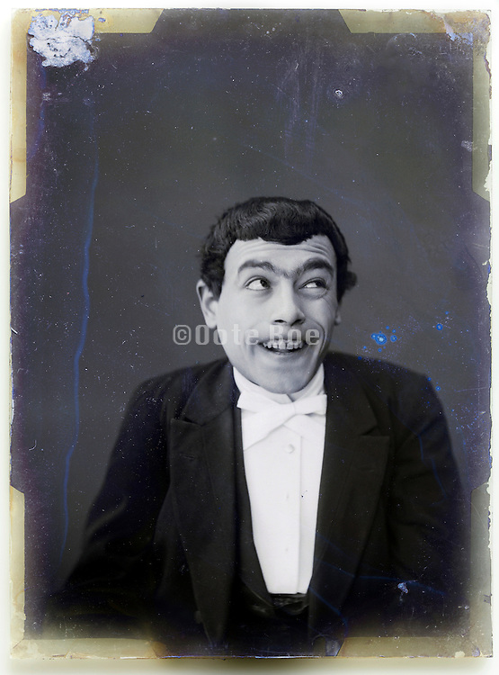 Mime comedian making face vintage portrait France at the turn of the 19th century