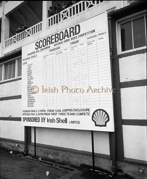 National Farm Tasks Competition Final  (K25).1976..07.05.1976..05.07.1976..7th May 1976..The final of the National Farm Tasks Competition were held in the R.D.S.(Royal Dublin Showgrounds, Dublin) The competition was sponsored by Irish Shell Ltd. Over 400 teams originally took part in the competition. The overall winners were the Tullyallen,Co Louth branch of Macra na Ferime..Image shows The Tullyallen team of Gerry Healy, George O'Brien and Pat Winters being presented with their award by Mr Bernard Nolan (fourth from left) Managing Director, Irish Shell,Ltd..Image of the scoreboard showing the counties taking part and also the skills involved over the two days of competition.