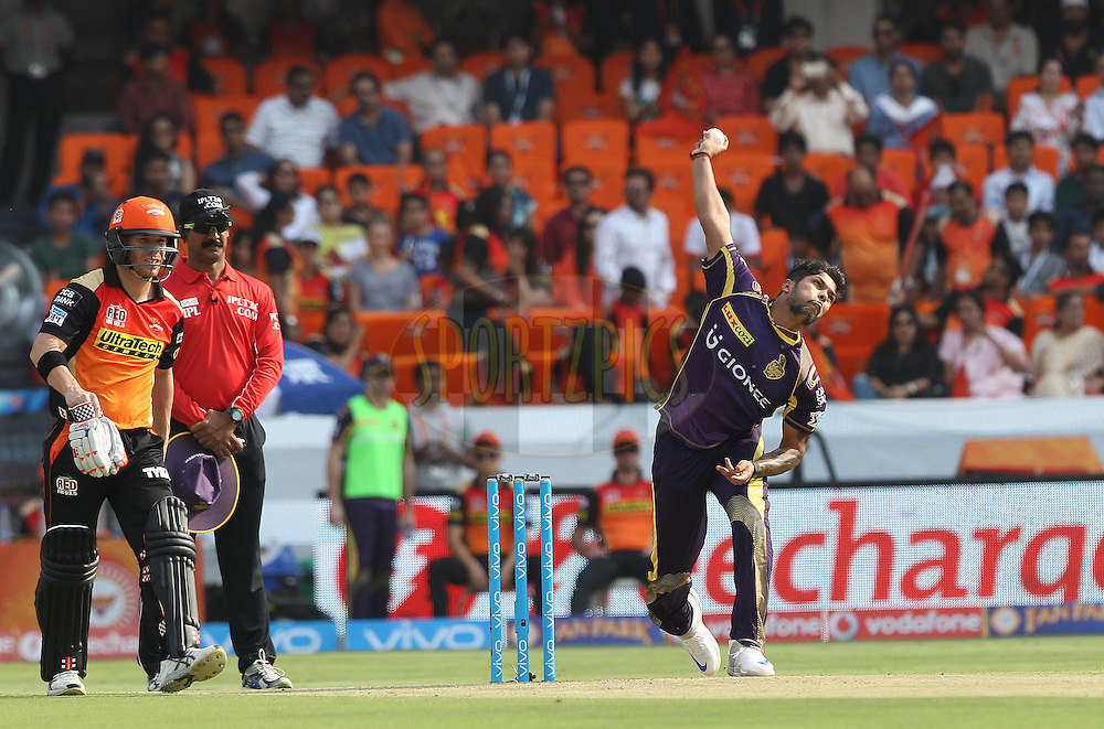 Kuldeep Yadav of Kolkata Knight Riders during match 8 of the Vivo IPL 2016 (Indian Premier League ) between the Sunrisers Hyderabad and the Kolkata Knight Riders held at the Rajiv Gandhi Intl. Cricket Stadium, Hyderabad on the 16th April 2016<br /> <br /> Photo by Ron Gaunt/ IPL/ SPORTZPICS