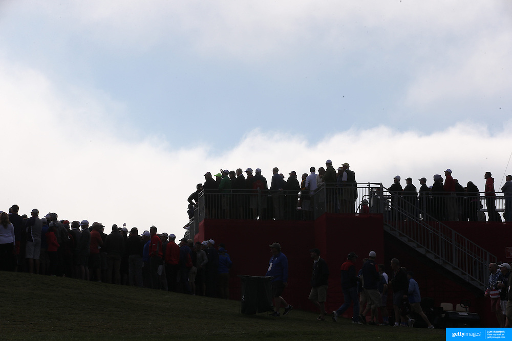 Ryder Cup 2016. Day One. Spectators watching on the ninth hole during the Friday morning foursomes during the Ryder Cup competition at the Hazeltine National Golf Club on September 30, 2016 in Chaska, Minnesota.  (Photo by Tim Clayton/Corbis via Getty Images)