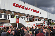 Picture by David Horn/Focus Images Ltd +44 7545 970036.27/04/2013.Fans arriving for the Brentford v  Doncaster Rovers game in the npower League 1 match at Griffin Park, London.