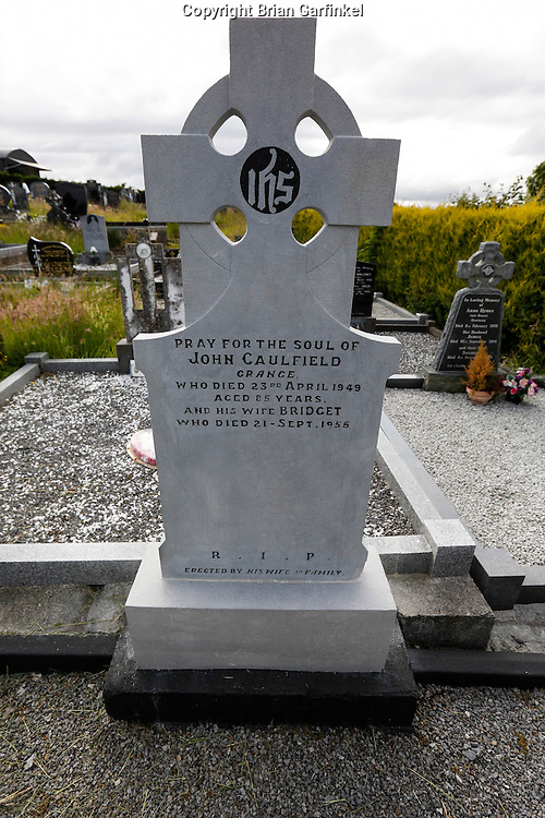The grave of John Caulfield (Allison's Great Grandfather)  behind Saint Patrick's Church in Granlahan, County Roscommon, Ireland on Tuesday, June 25th 2013. (Photo by Brian Garfinkel)