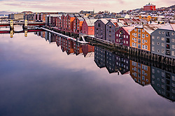 THEMENBILD - die farbenfrohen Speicherhäuser am Kanalhafen, aufgenommen am 14. Maerz 2019 in Trondheim, Norwegen // the colourful warehouses at the canal port, Trondheim, Norway on 2018/03/14. EXPA Pictures © 2019, PhotoCredit: EXPA/ JFK