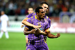 Marcos Tavares and Josip Ilicic of NK Maribor celebrate after their team's first goal during the Europa League play-offs second leg match between NK Maribor and US Citta di Palermo at Ljudski vrt Stadium on August 26, 2010 in Maribor, Slovenia.(Photo by Marjan Kelner / Sportida)