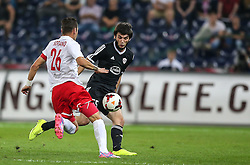 06.08.2014, Red Bull Arena, Salzburg, AUT, UEFA CL Qualifikation, FC Red Bull Salzburg vs Qarabag FK, dritte Runde, Rueckspiel, im Bild Jonatan Soriano Casas, (FC Red Bull Salzburg, #26) und Badavi Guseynov, (Qarabag FK, #55) //during UEFA Champions League Qualifier second leg 3rd round match between FC Red Bull Salzburg vs Qarabag FK at the Red Bull Arena in Salzburg, Austria on 2014/08/06. EXPA Pictures © 2014, PhotoCredit: EXPA/ Roland Hackl