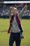 USA head coach Jill Ellis points to the fans after an international friendly against South Korea in Chicago, Sunday, Oct. 6, 2019, in Chicago. USWNT tied the Korea Republic 1-1. (Max Siker/Image of Sport)