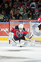 KELOWNA, CANADA - OCTOBER 25: Jackson Whistle #1 of Kelowna Rockets makes a save against the Brandon Wheat Kings on October 25, 2014 at Prospera Place in Kelowna, British Columbia, Canada.  (Photo by Marissa Baecker/Shoot the Breeze)  *** Local Caption *** Jackson Whistle;