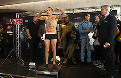 Samuel Vargas (centre) during the weigh in at Arena Birmingham.