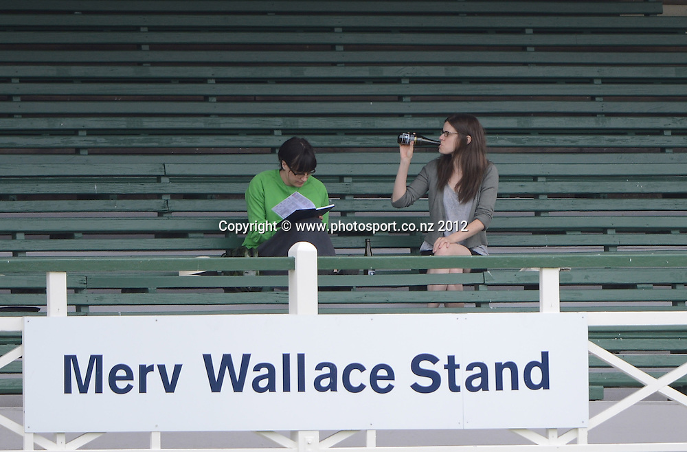 Spectators. Plunket Shield Cricket, Auckland Aces v Wellington Firebirds at Eden Park Outer Oval. Auckland on Tuesday 27 November 2012. Photo: Andrew Cornaga/Photosport.co.nz