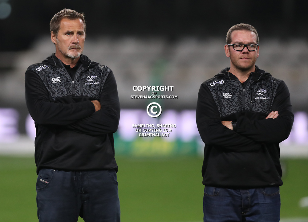 DURBAN, SOUTH AFRICA - AUGUST 04: Robert du Preez (Head Coach) of the Cell C Sharks with Jaco Pienaar (Assistant Coach) of the Cell C Sharks during the Currie Cup match between Cell C Sharks and Tafel Lager Griquas at Growthpoint Kings Park on August 04, 2017 in Durban, South Africa. (Photo by Steve Haag/Gallo Images)