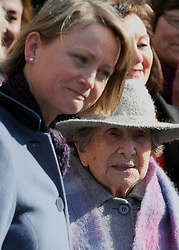©London News pictures. 08/03/11. 105-year-old former suffragette Hetty Bower (R) meets Labour's Yvette Cooper (L) at the statue of Emmeline Pankhurst to mark International Women's Day. She was  joined by Labour Leader Ed Miliband, Labour Deputy Leader Harriet Harman, and shadow home secretary Yvette Cooper. Emmeline  at the Pankhurst statue at Victoria Tower Gardens, Parliament Square, Westminster, London, Picture Credit should read Stephen Simpson/LNP