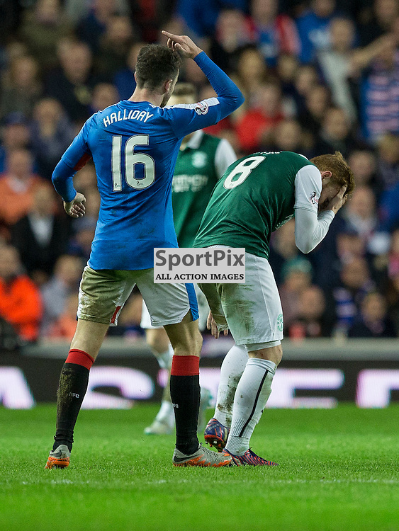 Rangers v Hibernian   SPFL season 2015-2016  <br /> <br /> Fraser Fyvie (Hibernian) holds his head after a clash with Andrew Halliday (Rangers)during the Ladbrokes Championship match between Rangers v Hibernian at Ibrox Stadium on 28 December 2015<br /> <br /> Picture: Alan Rennie