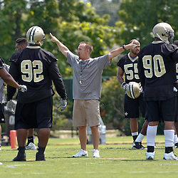 June 5, 2012; Metairie, LA, USA; New Orleans Saints defensive coordinator Steve Spagnuolo during a minicamp session at the team's practice facility. Mandatory Credit: Derick E. Hingle-US PRESSWIRE