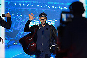 Roger Federer comes onto the court during the final of the ATP World Tour Finals between Roger Federer of Switzerland and Novak Djokovic at the O2 Arena, London, United Kingdom on 22 November 2015. Photo by Phil Duncan.