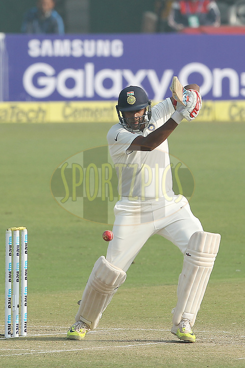 Ravichandran Ashwin of India  during day two of the 4th Paytm Freedom Trophy Series Test Match between India and South Africa held at the Feroz Shah Kotla Stadium in Delhi, India on the 4th December 2015<br /> <br /> Photo by Ron Gaunt  / BCCI / SPORTZPICS