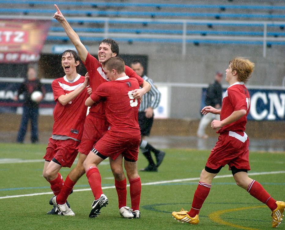 The Susquehannock Warriors including Brendan Kulaga, left, Sam Wendler, Dakota Conner and Trey Chilcoat celebrate a goal by Wendler during the second half of the PIAA Class AA Championship game, Saturday, November 15, 2008. Susquahannock won their first boy's state soccer title over Pottsgrove with the single goal...John Pavoncello photo..