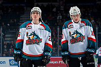 KELOWNA, CANADA - MARCH 13:  Liam Kindree #26 and Ted Brennan #10 of the Kelowna Rockets line up against the Spokane Chiefs on March 13, 2019 at Prospera Place in Kelowna, British Columbia, Canada.  (Photo by Marissa Baecker/Shoot the Breeze)