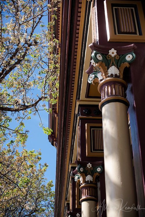 Downtown details, architectural scenes and cultural elements of Petaluma, California on a spring afternoon