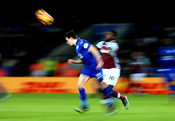 Ben Chilwell of Leicester City heads the ball clear of Michail Antonio of West Ham United - Mandatory by-line: Robbie Stephenson/JMP - 31/12/2016 - FOOTBALL - King Power Stadium - Leicester, England - Leicester City v West Ham United - Premier League