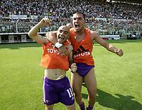 Firenze 29-5-05<br /> Fiorentina Brescia Campionato Serie A 2004 2005<br /> nella  foto Miccoli e BOJINOV ESULTANO DOPO LA SALVEZZA<br /> Foto Snapshot / Graffiti