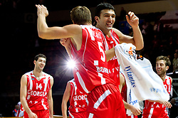 Vladimer Boisa and Zaza Pachulia of Georgia celebrate after the basketball match between National teams of Belgium and Georgia in Group D of Preliminary Round of Eurobasket Lithuania 2011, on August 31, 2011, in Arena Svyturio, Klaipeda, Lithuania. Georgia defeated Belgium 81 - 59. (Photo by Vid Ponikvar / Sportida)