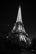 Eiffel Tower at night black and white