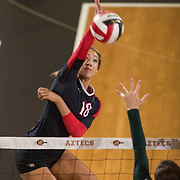 27 August 2016: The San Diego State Aztecs took on the Michigan State Spartans in game two of the Aztec Invitational at Peterson Gym on the campus of SDSU. OH Alexis Cage (18) seen here spiking the ball in the first set. The Aztecs lost 3-1 to the Spartans. www.sdsuaztecphotos.com