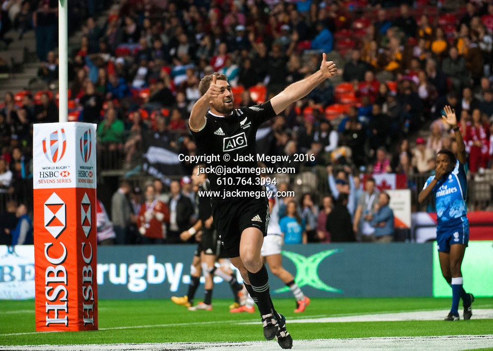 Kurt Baker of New Zealand celebrates after scoring a try against the United States during the pool stages of the 2016 Canada Sevens leg of the HSBC Sevens World Series Series at BC Place in  Vancouver, British Columbia. Saturday March 12, 2016.<br /> <br /> Jack Megaw<br /> <br /> www.jackmegaw.com<br /> <br /> 610.764.3094<br /> jack@jackmegaw.com