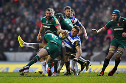 Sam Burgess of Bath Rugby is tackled to ground by Owen Williams of Leicester Tigers - Photo mandatory by-line: Patrick Khachfe/JMP - Mobile: 07966 386802 04/01/2015 - SPORT - RUGBY UNION - Leicester - Welford Road - Leicester Tigers v Bath Rugby - Aviva Premiership