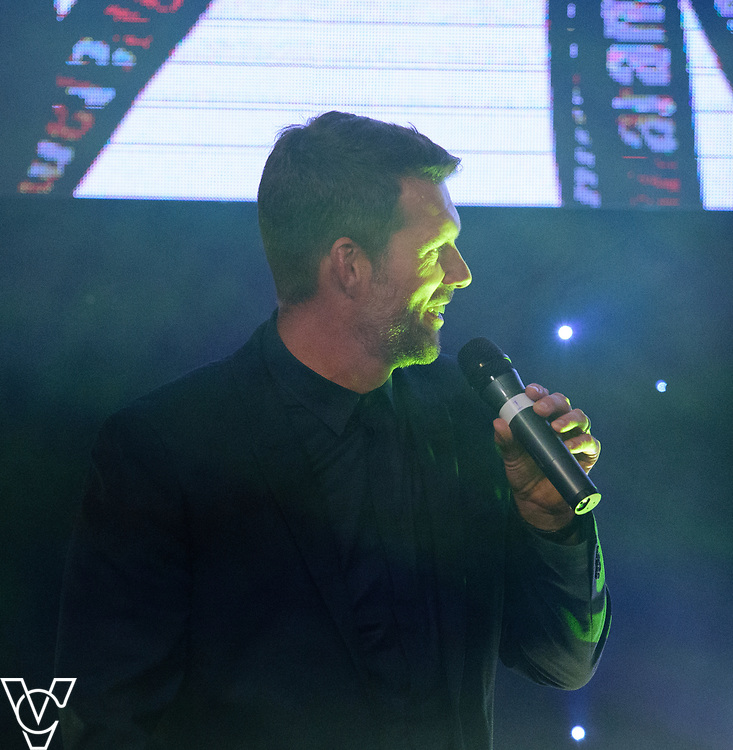 Jimmy Walker on stage singing Sweet Carloine<br /> <br /> Lincoln City Football Club's 2016/17 End of Season Awards night - Champions Seasons Awards Dinner - held at the Lincolnshire Showground.<br /> <br /> Picture: Andrew Vaughan for Lincoln City Football Club<br /> Date: May 20, 2017 Champions Seasons Awards Dinner: