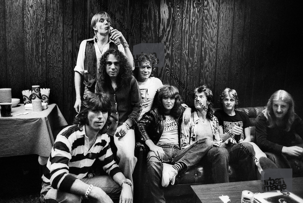 Uriah Heep Backstage group shot London 1975