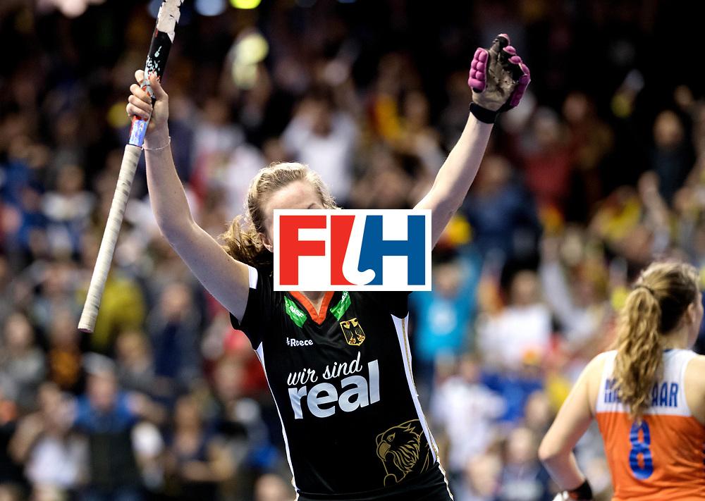 BERLIN - Indoor Hockey World Cup<br /> Final: Netherlands - Germany<br /> foto: Franzisca Hauke celebrates the 1-2.<br /> WORLDSPORTPICS COPYRIGHT FRANK UIJLENBROEK