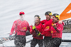 190707 China One Ningbo of New Zeeland with skipper Phil Robertson celebrates after winning on day five of Match Cup Sweden on July 7, 2019 in Marstrand.<br />