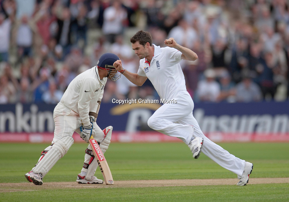 James Anderson celebrates having Virender Sehwag caught for nought during the third npower Test Match between England and India at Edgbaston, Birmingham.  Photo: Graham Morris (Tel: +44(0)20 8969 4192 Email: sales@cricketpix.com) 12/08/11