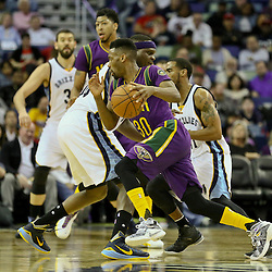 Feb 1, 2016; New Orleans, LA, USA; New Orleans Pelicans guard Norris Cole (30) drives past Memphis Grizzlies forward Zach Randolph (50) during the second quarter of a game at the Smoothie King Center. Mandatory Credit: Derick E. Hingle-USA TODAY Sports