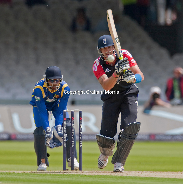 Kevin Pietersen bats during the third one day international between England and Sri Lanka at Lord's, London. Photo: Graham Morris (Tel: +44(0)20 8969 4192 Email: sales@cricketpix.com) 03/07/11