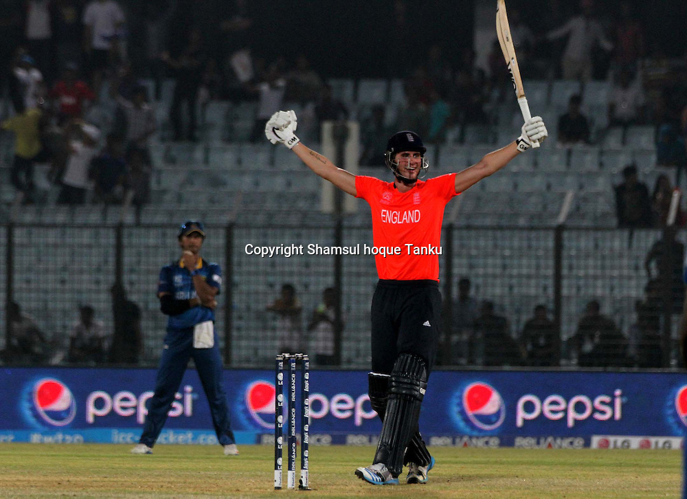 England's Alex Hale celebrates - England v Sri Lanka - ICC World Twenty20, Bangladesh 2014. 28 March 2014, Zahur Ahmed Chowdhury Stadium, Chittagong. Photo: Shamsul hoque Tanku/www.photosport.co.nz