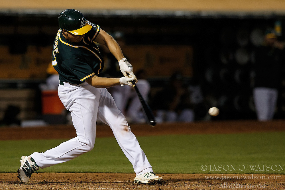 OAKLAND, CA - JULY 19:  Matt McBride #29 of the Oakland Athletics at bat against the Houston Astros during the fifth inning at the Oakland Coliseum on July 19, 2016 in Oakland, California. The Oakland Athletics defeated the Houston Astros 4-3 in 10 innings.  (Photo by Jason O. Watson/Getty Images) *** Local Caption *** Matt McBride