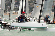 Murray Philpott (NZL1) rounds the top mark in race seven of the A Class World championships regatta being sailed at Takapuna in Auckland. 15/2/2014
