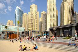 New pedestrian shopping and dining promenade beside beach called The Beach, off The Walk, at Jumeirah Beach Residences (JBR) in Dubai United Arab Emirates