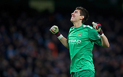 15.02.2014, Etihad Stadion, Manchester, ESP, FA Cup, Manchester City vs FC Chelsea, Achtelfinale, im Bild Manchester City's goalkeeper Costel Pantilimon celebrates the second goal against Chelsea // during the English FA Cup Round of last 16 Match between Manchester City and FC Chelsea at the Etihad Stadion in Manchester, Great Britain on 2014/02/15. EXPA Pictures © 2014, PhotoCredit: EXPA/ Propagandaphoto/ David Rawcliffe<br /> <br /> *****ATTENTION - OUT of ENG, GBR*****