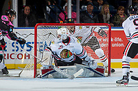 KELOWNA, CANADA - OCTOBER 21:  Shane Farkas #1 of the Portland Winterhawks defends the net against the Kelowna Rockets on October 21, 2017 at Prospera Place in Kelowna, British Columbia, Canada.  (Photo by Marissa Baecker/Shoot the Breeze)  *** Local Caption ***