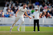 Craig Overton of Somerset celebrates taking the wicket of Samit Patel of Nottinghamshire during the Specsavers County Champ Div 1 match between Somerset County Cricket Club and Nottinghamshire County Cricket Club at the Cooper Associates County Ground, Taunton, United Kingdom on 22 September 2016. Photo by Graham Hunt.