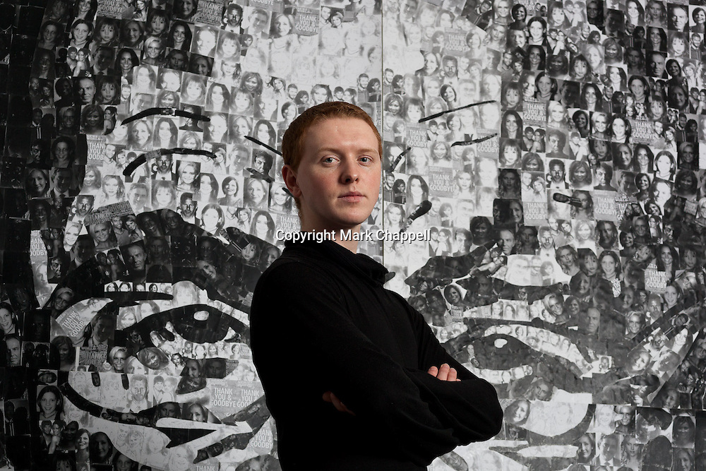 Following the closure of The News of the World, Britain's Got Talent artist Nathan Wyburn's new work 'Thank You and Goodbye' is shown at the University of Wales Institute where he is studying for a degree in fine art. The Collage, made from 5000 photographs of alleged victims of the News International phone hacking scandal, took 30 hours to complete and depicts Rupert Murdoch.  CARDIFF, UNITED KINGDOM. FEBRUARY 17 2012.<br /> Photo Credit: Mark Chappell<br /> <br /> &copy; Mark Chappell 2012. <br /> All rights reserved, see instructions.