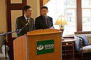 Signing of a Memorandum of Understanding between Beijing International Studies University and Ohio University at Baker Center on October 15, 2013. Photo by Stephen Reiss.