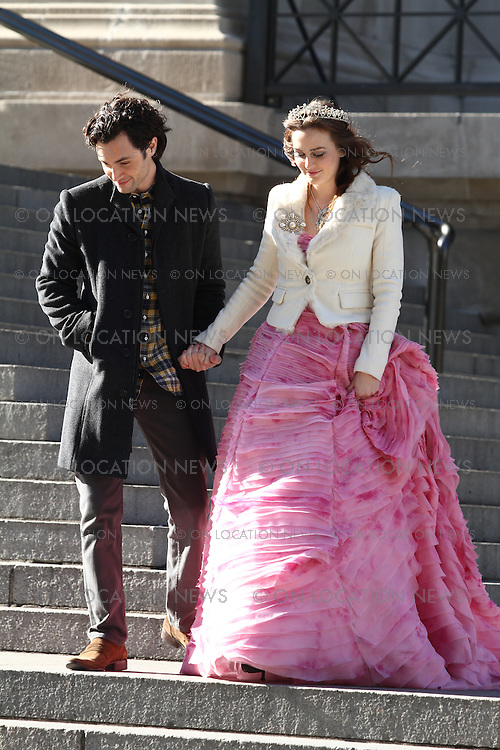 Leighton Meester and Penn Badgley on the set of Gossip Girl on 80th Street and Fifth Ave in Manhattan, New York February 6th 2012. Non-Exclusive. Photo Sales Contact: Eric Ford/ On Location News 1/818-613-3955 info@onlocationnews.com