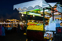 Morocco, Marrakesh. Jamaa el Fna is a square and market place in the medina quarter (old city). Buy a fresh orange juice!