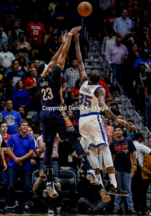 Oct 20, 2017; New Orleans, LA, USA; New Orleans Pelicans forward Anthony Davis (23) shoots over Golden State Warriors forward Kevin Durant (35) during the first quarter of a game at the Smoothie King Center. Mandatory Credit: Derick E. Hingle-USA TODAY Sports